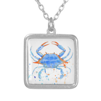 Watercolor blue crab paint splatter silver plated necklace