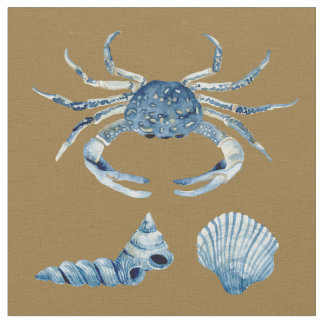 Watercolor Blue Crab Shells Contemporary Modern Fabric
