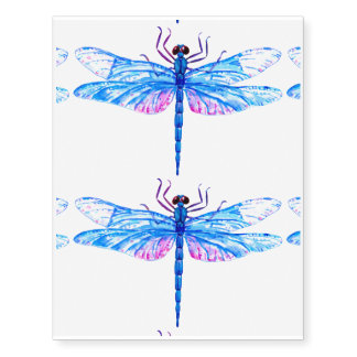 Watercolor blue dragonfly temporary tattoos