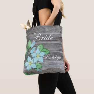 Watercolor Blue Floral Country Themed Bride Tote Bag