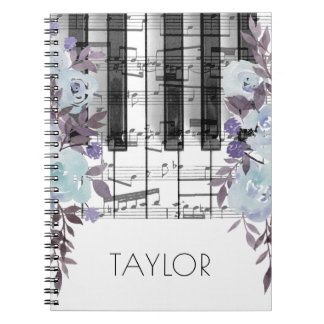 watercolor blue flowers music piano spiral notebook