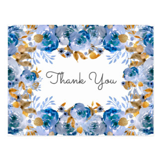 Watercolor Blue Gold Floral Thank You notes Postcard