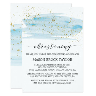 Watercolor Blue & Gold Sparkle Christening Card