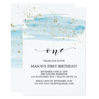 Watercolor Blue & Gold Sparkle First Birthday Card