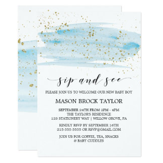 Watercolor Blue & Gold Sparkle Sip and See Card