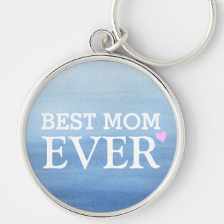 Watercolor Blue Gradient Pink Heart Best Mom Ever Key Ring