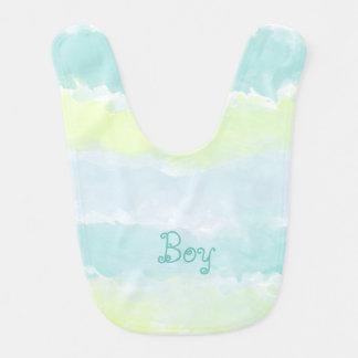 Watercolor Blue Green Azur Boy Bib
