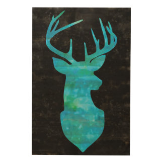 Watercolor Blue Green Deer on Black Background Wood Wall Decor