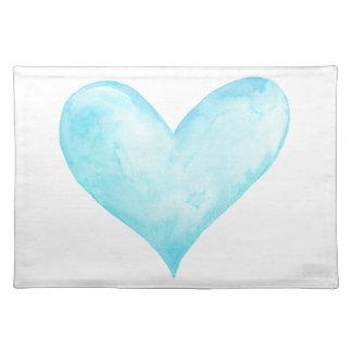 Watercolor blue heart placemat