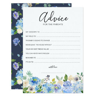 Watercolor Blue Hydrangeas Advice for the Parents Card