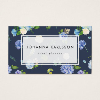 Watercolor Blue Hydrangeas and Peonies Business Card