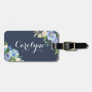 Watercolor Blue Hydrangeas & Peonies Personalized Luggage Tag