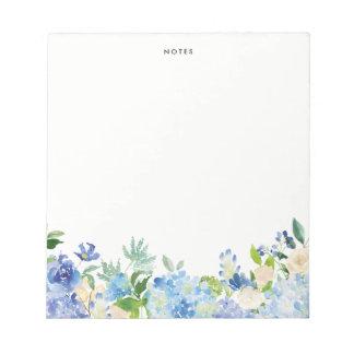 Watercolor Blue Hydrangeas Personalized Notepad