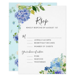 Watercolor Blue Hydrangeas RSVP with Entree II Card