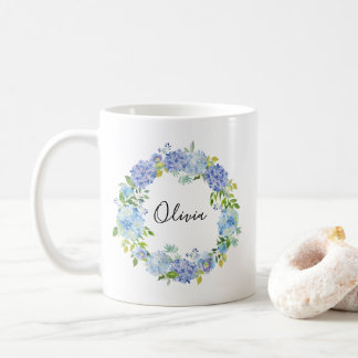 Watercolor Blue Hydrangeas Wreath Personalized Mug