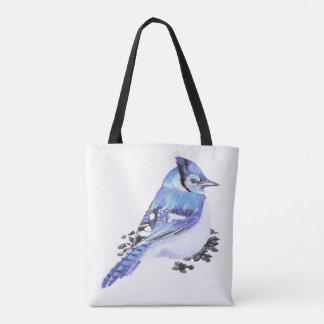 Watercolor Blue Jay Bird Nature art Tote Bag