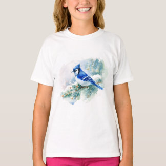 Watercolor Blue Jay White T-Shirt
