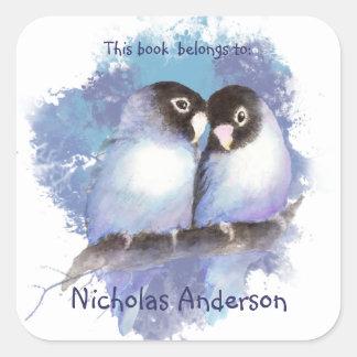 Watercolor Blue Lovebirds Love Birds Bookplate art Square Sticker