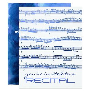 watercolor blue notes music recital invitation
