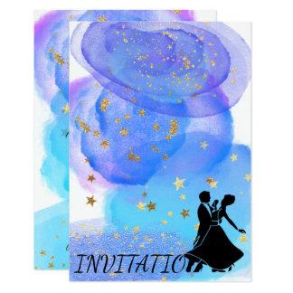 Watercolor Blue Ocean Night Sky Starry Dance Party Card