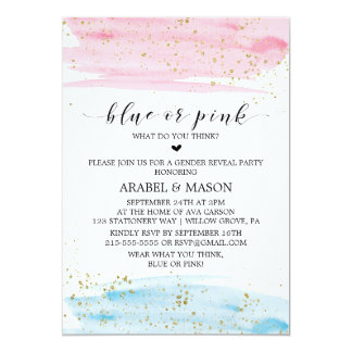 Watercolor Blue or Pink Gender Reveal Party Card