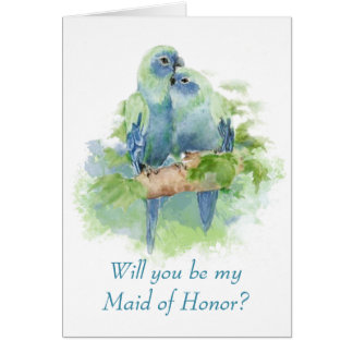 Watercolor Blue Parrot Tropical Bird Maid of Honor Card