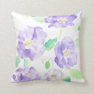 Watercolor blue poppy Cushion