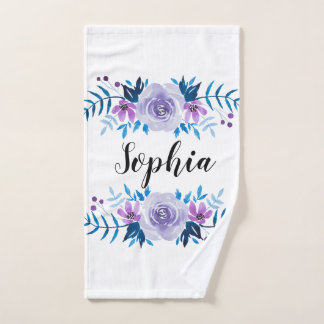 Watercolor Blue Purple Floral Wreath Custom Text Hand Towel