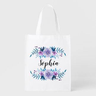 Watercolor Blue Purple Floral Wreath Custom Text Reusable Grocery Bag