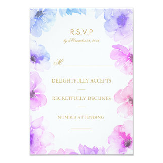 Watercolor Blue Purple Floral Wreath Wedding Rsvp 9 Cm X 13 Cm Invitation Card