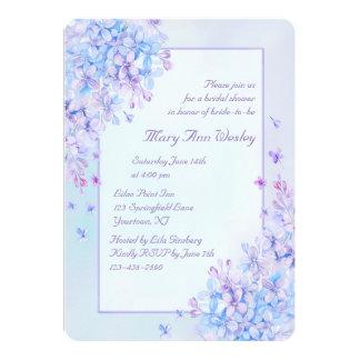 Watercolor  Blue Purple Lilac Flower Bridal Shower Card