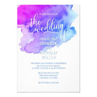 Watercolor Blue Purple Violet Wedding Invitations