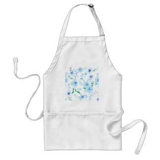 Watercolor Blue Rose Pattern Standard Apron