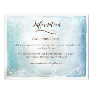 Watercolor Blue Sea or Sky Information Card