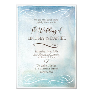 Watercolor Blue Sea or Sky Wedding Invitation