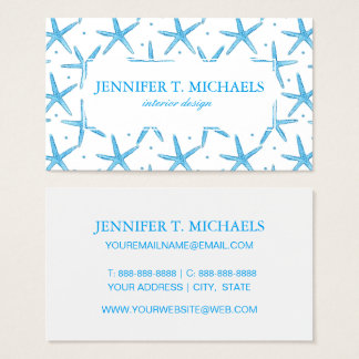 Watercolor Blue Sea Stars Pattern Business Card