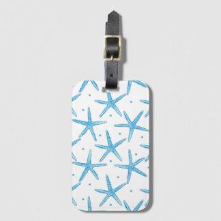 Watercolor Blue Sea Stars Pattern Luggage Tag