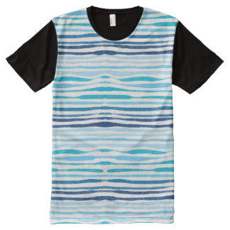 Watercolor blue summer pattern men's t-shirt