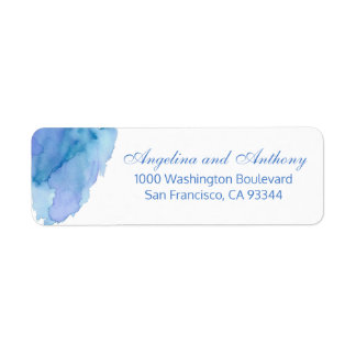 Watercolor Blue Teal Beach Wedding Return Address Return Address Label
