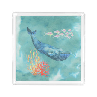Watercolor Blue Whale ID368 Acrylic Tray
