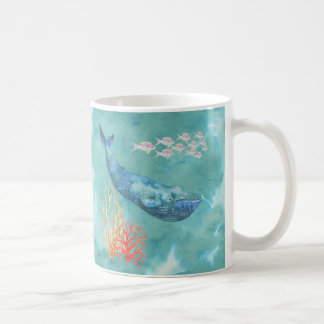Watercolor Blue Whale ID368 Coffee Mug