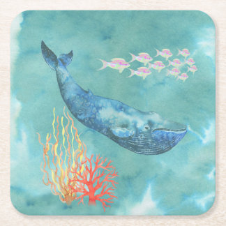 Watercolor Blue Whale ID368 Square Paper Coaster