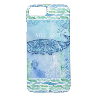 Watercolor Blue Whale Ocean Modern Beach Octopus iPhone 8/7 Case