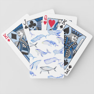 Watercolor Blue Whale Pattern Bicycle Playing Cards