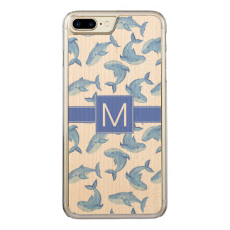 Watercolor Blue Whale Pattern Carved iPhone 8 Plus/7 Plus Case