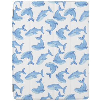 Watercolor Blue Whale Pattern iPad Cover