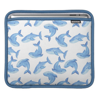 Watercolor Blue Whale Pattern iPad Sleeve