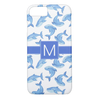 Watercolor Blue Whale Pattern iPhone 8/7 Case