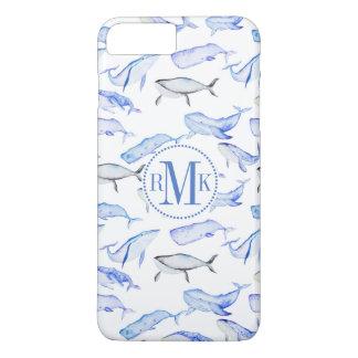Watercolor Blue Whale Pattern iPhone 8 Plus/7 Plus Case