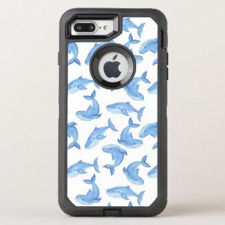 Watercolor Blue Whale Pattern OtterBox Defender iPhone 8 Plus/7 Plus Case